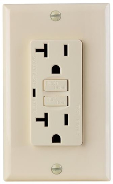 GFCI Outlet, 20 Amp, With Plate, Ivory