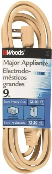 12/3, Appliance Extension Poser Cord, 9', 250 VAC, 20 Amp