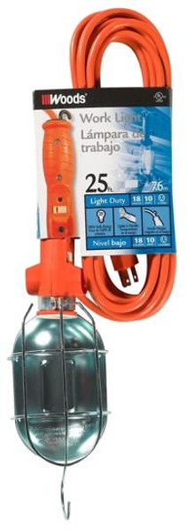 Work Light, 18/3,  25', With Grounded Outlet & Switch