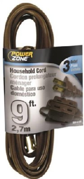 16/2, Electrical Extension Cord,  9',  With 3 Way Cube, Brown