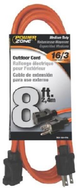 16/3, Electrical Extension Cord,   8', 13 Amp, 125 VAC, Orange
