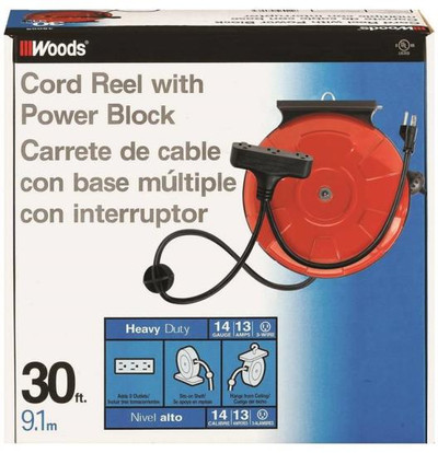 Electrical Power Cord Reel, 30', Power Block With 3 Outlets, Grounded, Orange