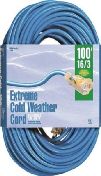16/3, Electrical Extension Cord, 100', 13 Amp, 125 VAC, Extreme Cold, Blue