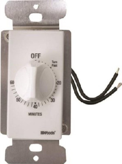 Timer, In-Wall Indoor Spring Wound, 20 Amp, 125 VAC, 60 Min