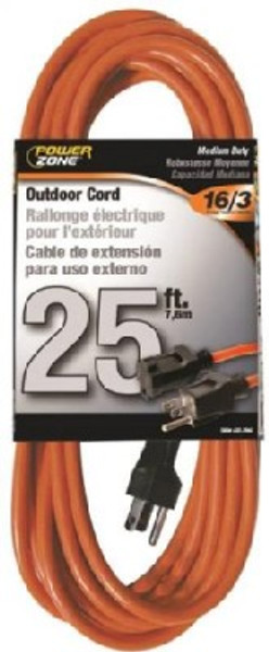 16/3, Electrical Extension Cord,  25', 13 Amp, 125 VAC, Outdoor, Orange