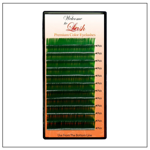 Single Classic CC Curl 9mm to 16mm Premium Green Eyelash Extension Tray