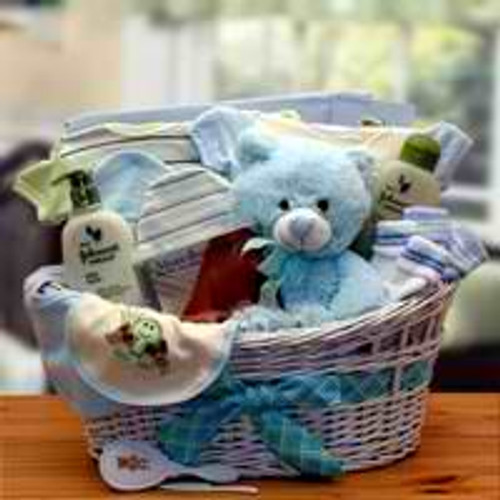Deluxe Organic New Baby Gift Basket - Blue