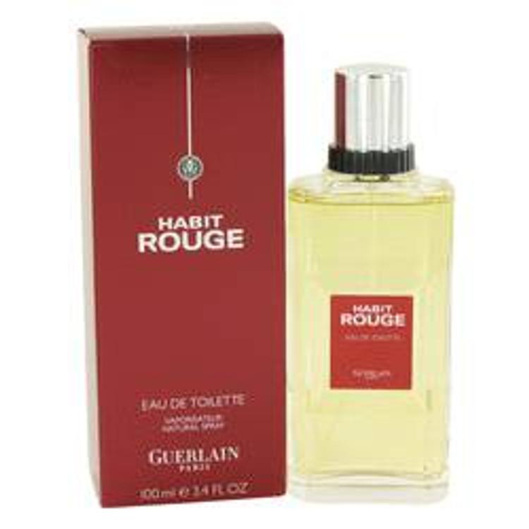 Habit Rouge Cologne by Guerlain For Men Edt spray 3.4oz