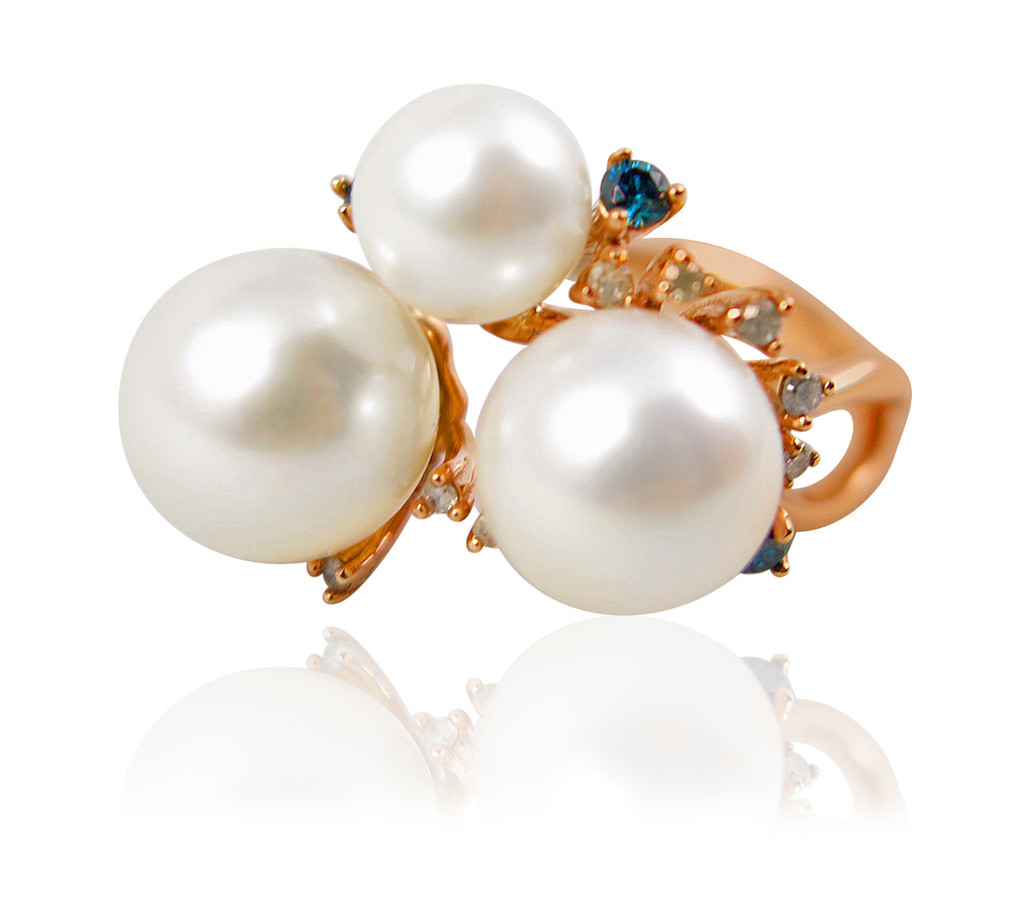Pearl and Color Diamond Statement Ring
