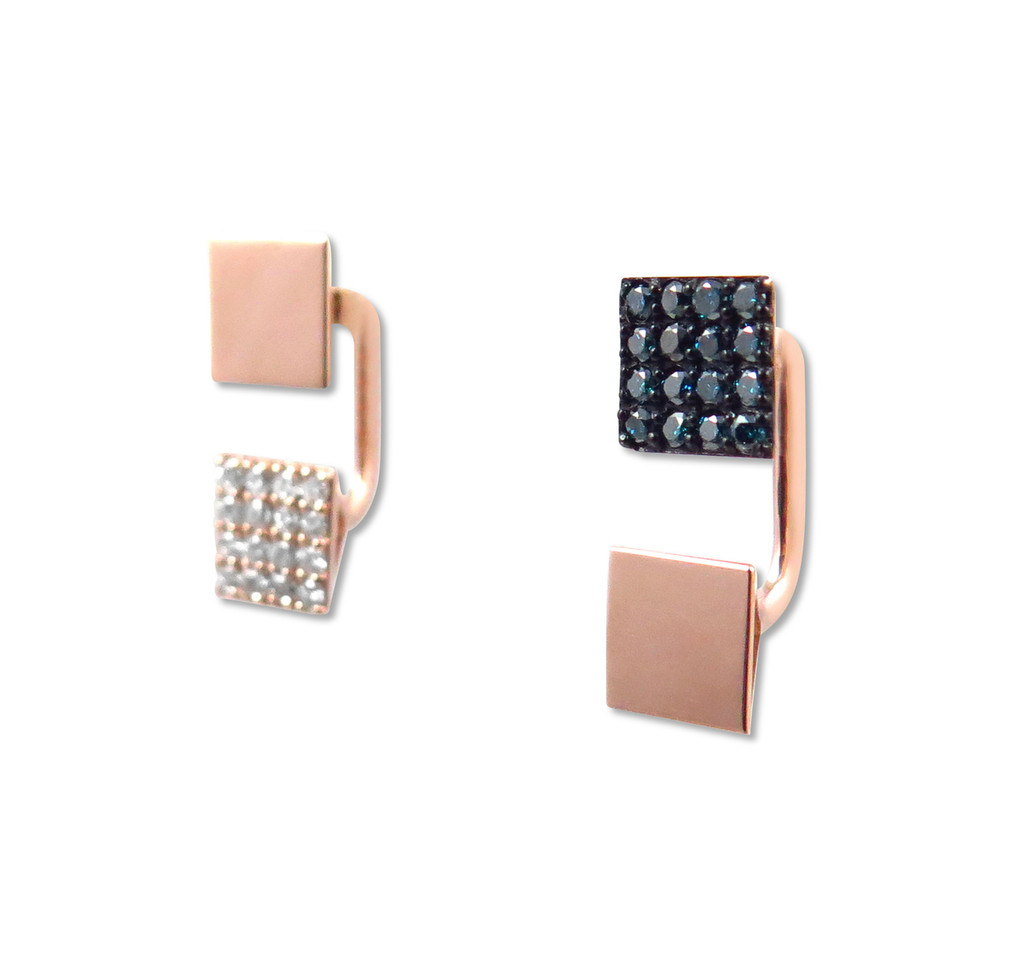 Huggie Earrings with White and Blue Diamonds