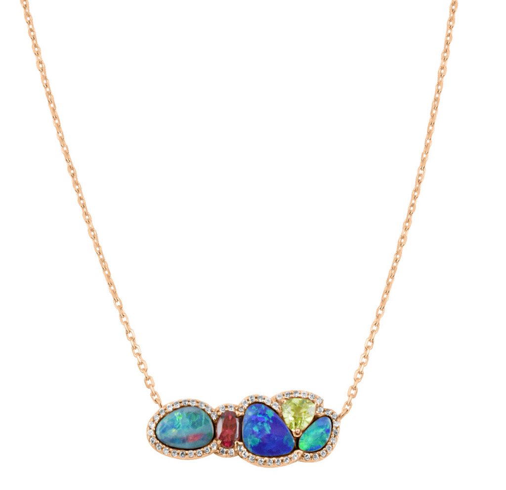 Opal, Citrine, Tourmaline and Sapphire 14K Gold Necklace