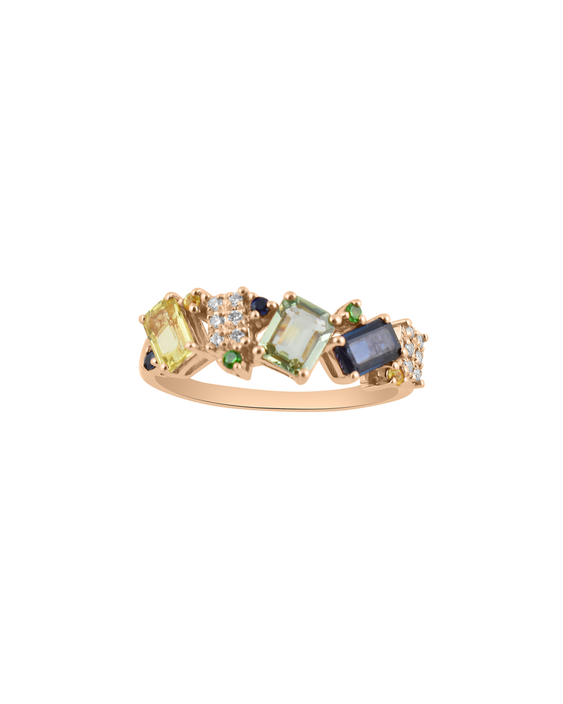 Cool Hued Emerald Cut Sapphire & Diamond 14K Gold Ring