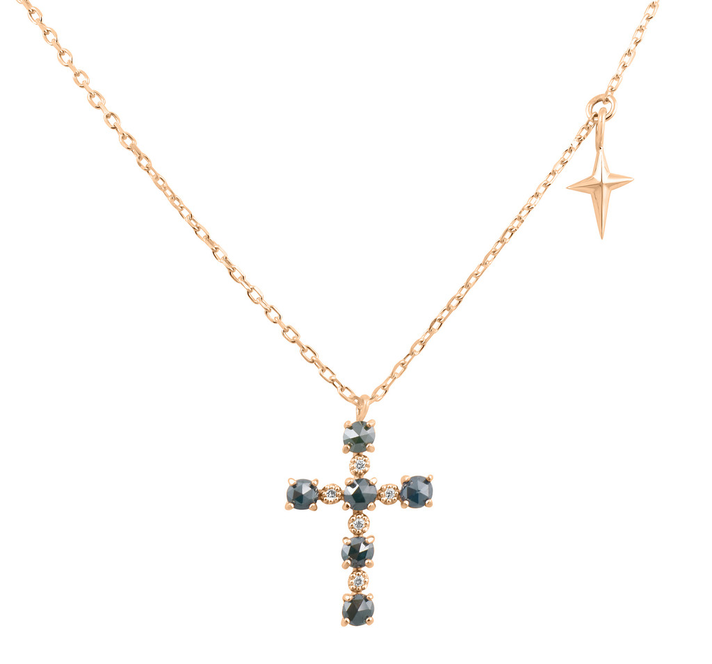 Blue and White Diamond 14K Gold Cross Necklace
