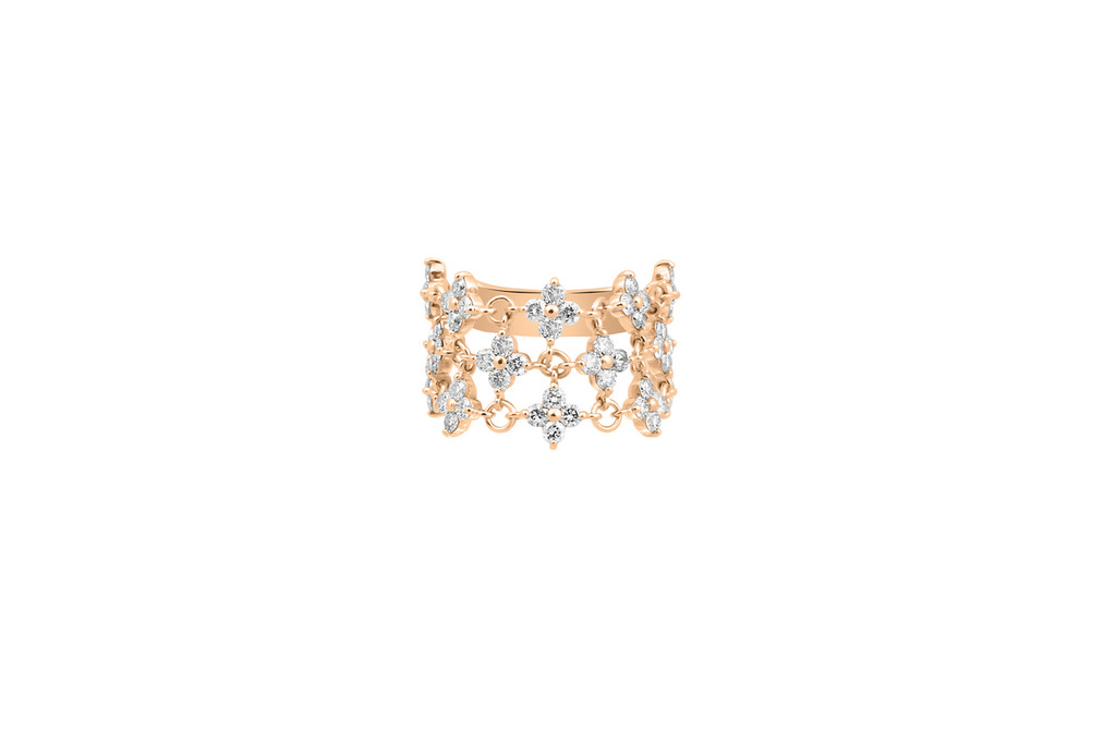 Champagne Diamond 14K Gold Chain Linked Flower Motif Ring