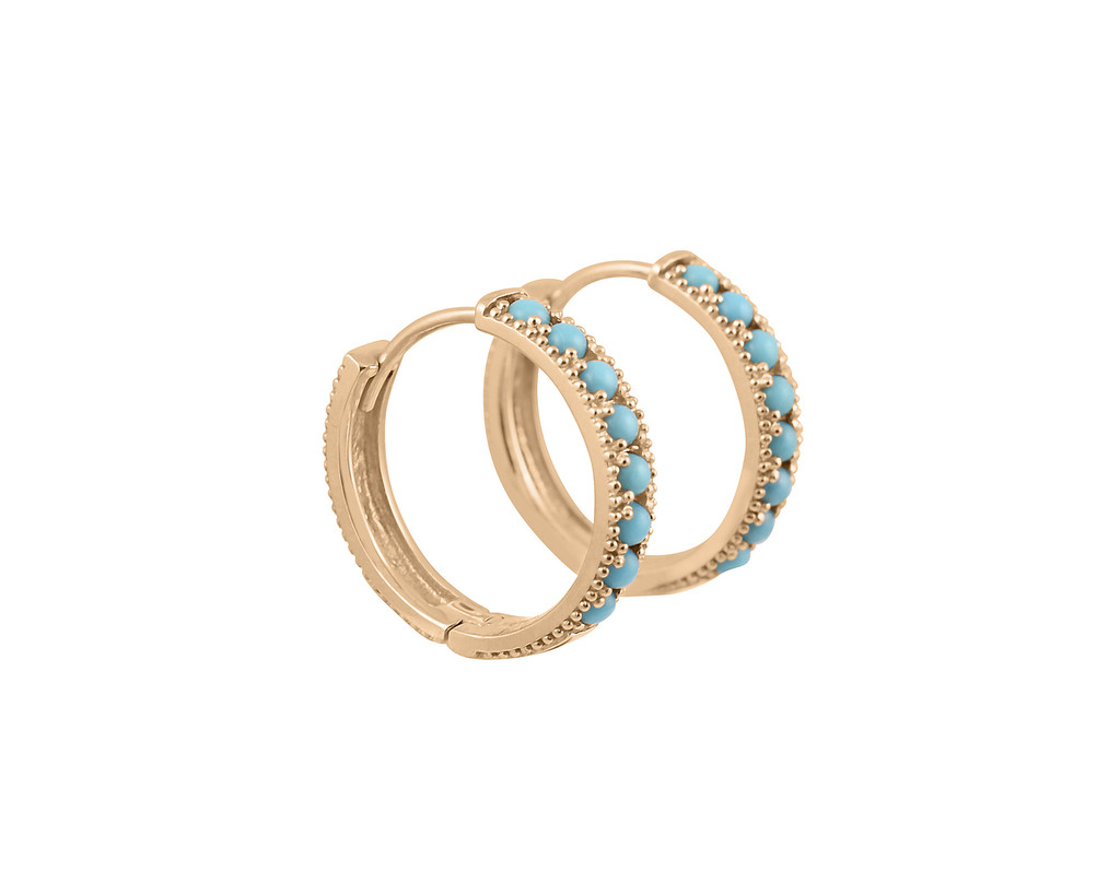 Turquoise 14K Hoop Earrings