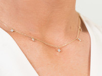 White Diamond 14K Gold Northern Star Charm Necklace