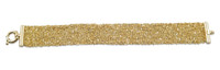 18K Yellow Gold Plated Hand Woven Mesh Bracelet