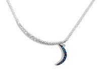 White and Blue Diamond Crescent Moon Necklace