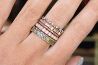 Rainbow Diamond 14K Gold Skinny Stacking Ring