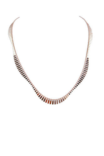 18K Rose Gold Plated Sterling Silver Wave Necklace
