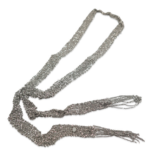 Oxidized Silver Hand Woven Mesh Scarf Necklace