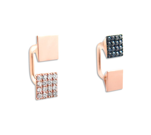 Geometric White and Blue Diamond Huggie Earrings