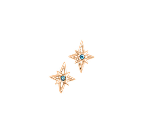 Gold Star Studs with Blue Diamonds