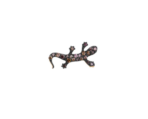 Multi Pink Diamond 14K Gold Salamander Stud Earrings