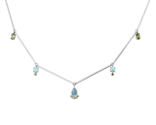 Tourmaline, Turquoise, & Opal 14K Gold Gem Charm Necklace with Green Diamonds