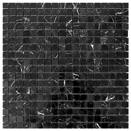 Nero Marquina Black Marble 5/8x5/8 Mosaic Tile Polished