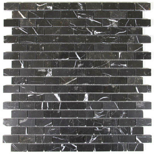 Nero Marquina Black Marble Mini Brick Mosaic Tile Polished