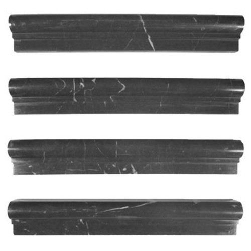 Nero Marquina Black Marble Ogee 1 Chairrail Molding Polished