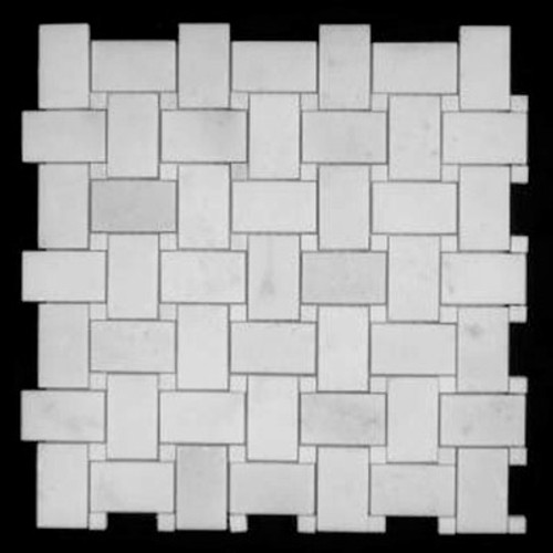 Statuary Crystal Marble Italian White Statuario Basketweave Mosaic Tile with Statuary Crystal White Dots Polished