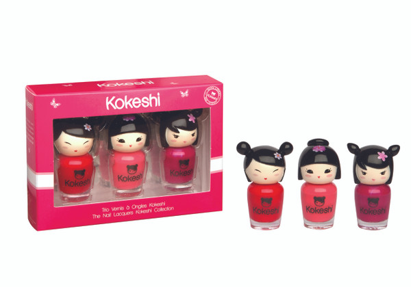 Kokeshi Rosy Girly Trio Nail Lacquer Set