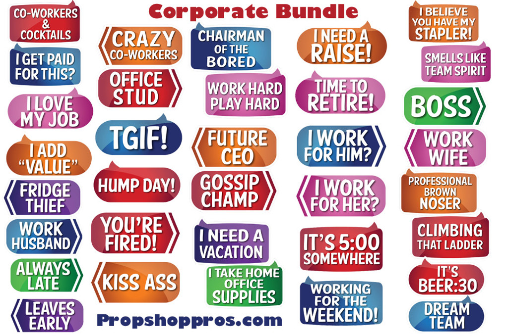 Corporate Signs | B-STOCK | Photo Booth Props | Prop Signs
