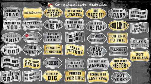 Graduation Signs | (Partial Bundle)(Ten Signs) 10 Of 20 Signs B-STOCK | Photo Booth Props | Prop Signs