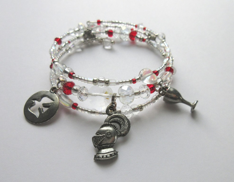 The Innocent Fool Bracelet represents Parsifal as Wandering Knight,  Grail Knight and Grail King.