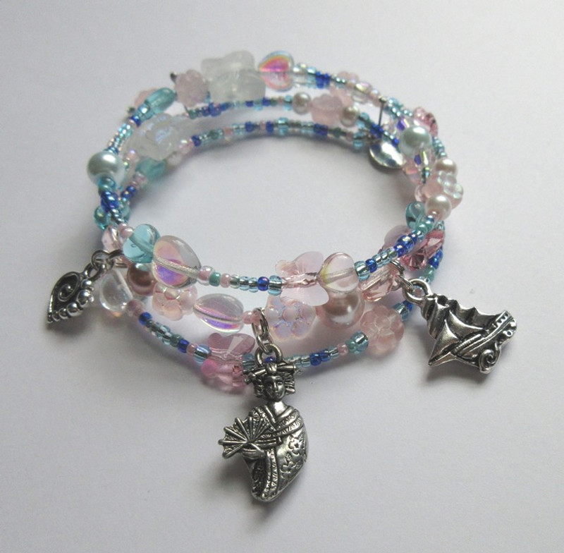 Blue and pink beads evoke Butterfly's view of the harbor and cherry trees.