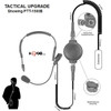 SPM 1400 Tactical Medium Duty, Behind The Head Boom Microphone Headset for FRS/GMRS and Business radios. Features: Adjustable padded headset and Optional Tactical PTT Button Pictured.