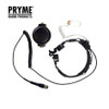 Uses clear acoustic tube style surveillance earphone made of heavy grade surgical tubing.Large PTT button for tactical set up. Pryme SPM1500