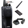 Kenwood TK3400U4P two way radio, drop-in fast charger, and 22 hour lithium rechargeable battery is great for toughest outdoor construction sites.