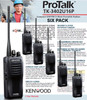 TK-3402U16P two-way business radio is specially designed for demanding use with clear communications weighing in at only 9.9 ounces, get your six pack today. The 3402 Kenwood business radio is also loaded with features such as voice scrambling for added privacy, hands-free (VOX) operation(when used with optional accessories), and channel scan.