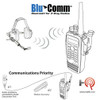 Once your BluComm Adapter and wireless Bluetooth headset have been paired together you will be able to monitor received signals that will be heard over your Bluetooth headset's speaker.  When transmitting, the operator's voice is picked-up by the microphone in the Bluetooth headset.