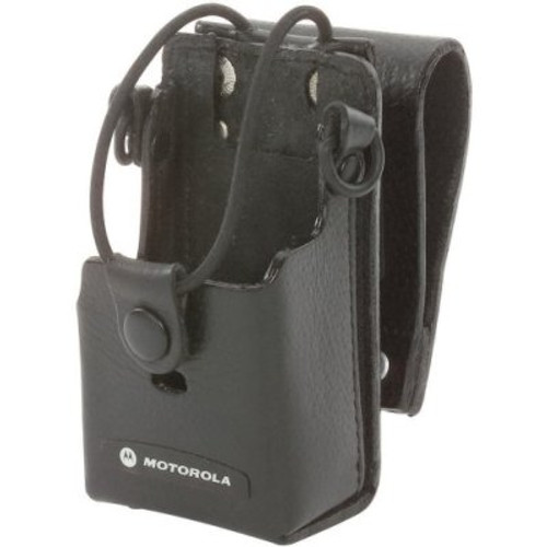 "Motorola Hard Leather Case with 3"" Swivel - Heavy-duty leather holster keeps radio within reach. Swivel makes activity such as kneeling or bending more comfortable. RLN6302"