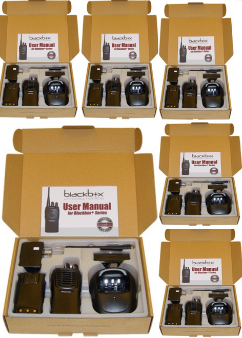 Six pack of VHF high quality, low cost business radios by Black Box.  Get yours Today!  Black Box Plus.