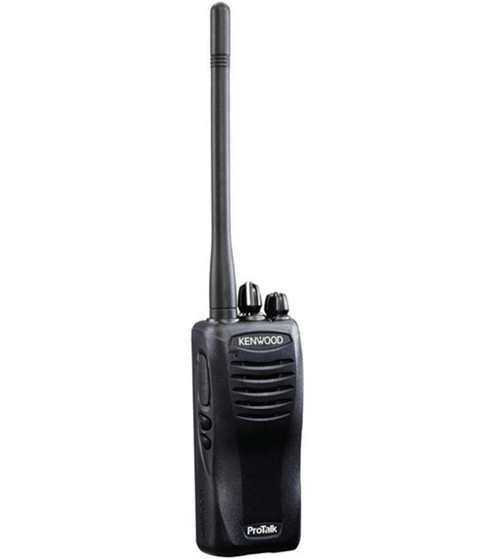 Kenwood TK-3400U4P two way radio offers 4 channels, 2 watts of power, and a lithium battery providing a 22 hour battery life and coverage for up to 250,000 square feet, 20 floors, or up to 6 miles.