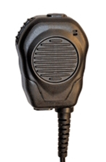 Valor Speaker Microphone which features a top and bottom cam-lock listen only earpiece port. Made in the USA. Rubber exterior molding.