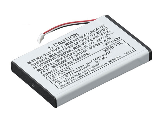 Genuine Kenwood rechargeable lithium ion battery pack; DC 3.7V 1430mAh; Model KNB-71L; Works with the Kenwood ProTalk LT PKT-23