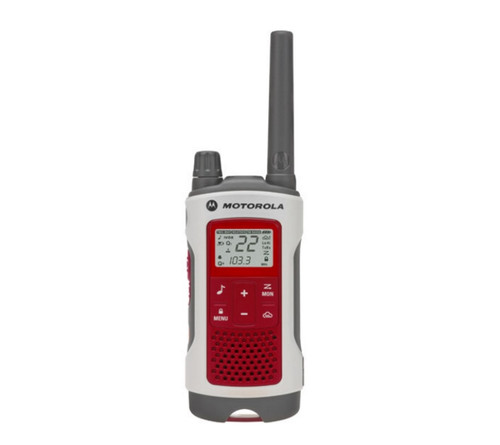 FRS/GMRS radios supports 22 channels and 121 privacy codes per channel with up to 35 miles of range with this Motorola T480.