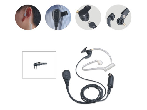 Hytera EAM12 Surveillance Earpiece with On-Mic PTT and Transparent Acoustic Tube VOX.